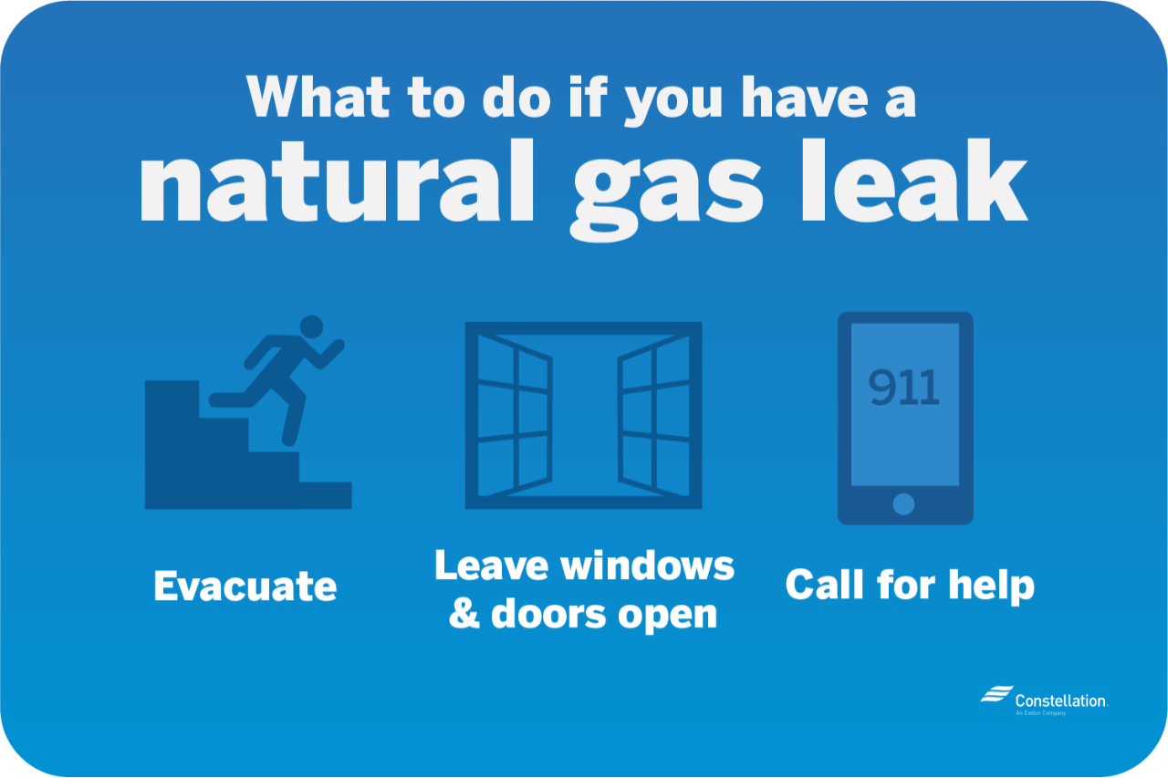 What to do if you have a natural gas leak - evacuate, leave windows and doors open and call for help
