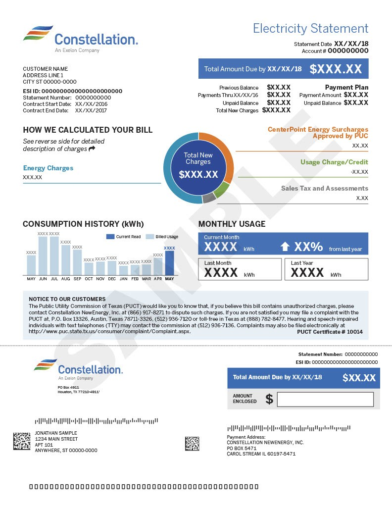 Sample electricity bill from Constellation