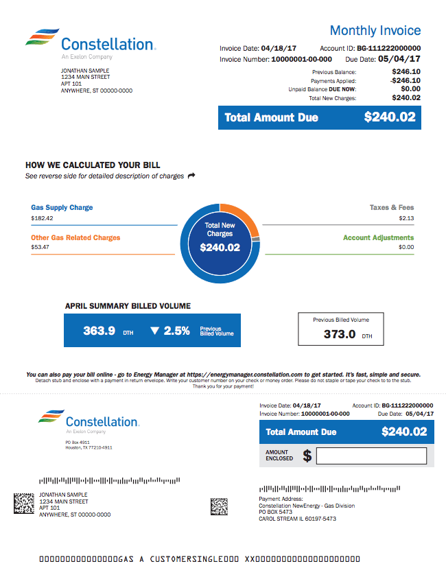 Sample gas bill from Constellation