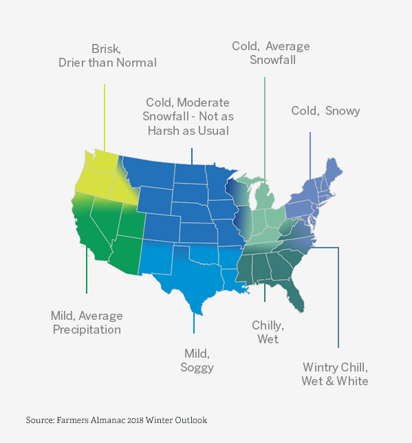 Winter Outlook USA Map 2018