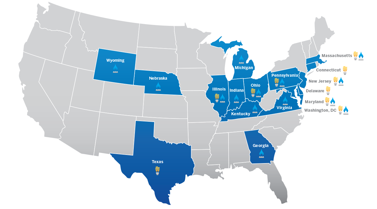 US map highlighting the states that Constellation serves natural gas