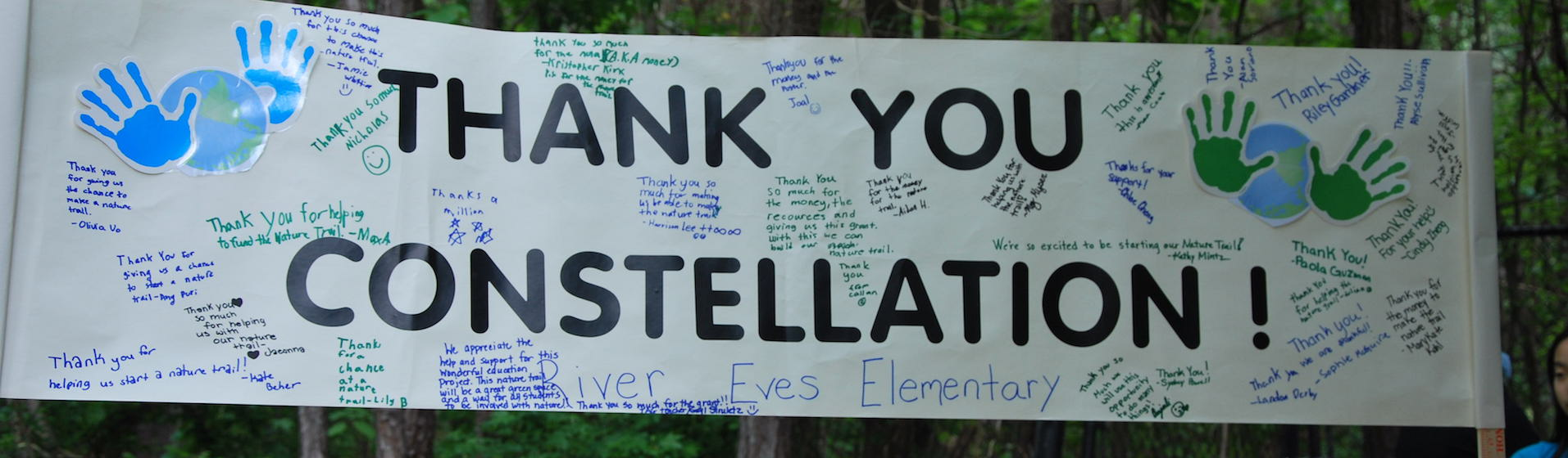 Banner saying Thank You Constellation for community giving