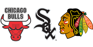 Chicago Bulls, White Sox, and Blackhawks logos