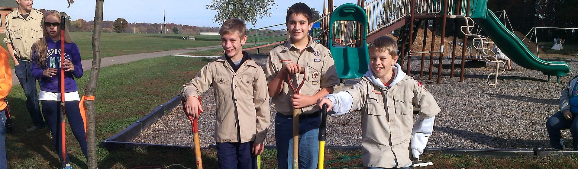 group of houston community champions kids fixing a playground