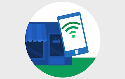 Illustration of small business store front with cell phone icon showing wifi symbol