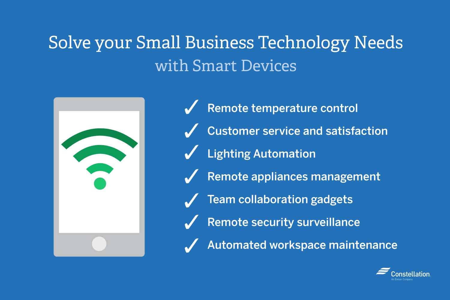 You can solve your small business technology needs with smart devices to remotely control temperature, etc.