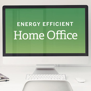 computer monitor displaying energy efficient savings for home office expenses