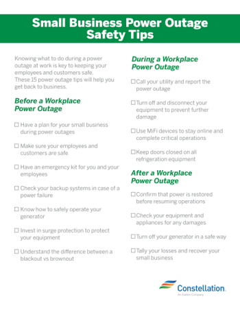 small business power outage safety tips printable