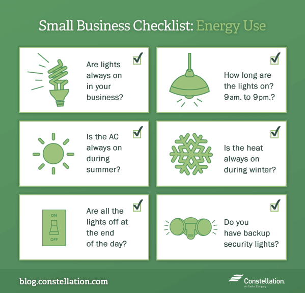 Small business checklist: energy use graphic