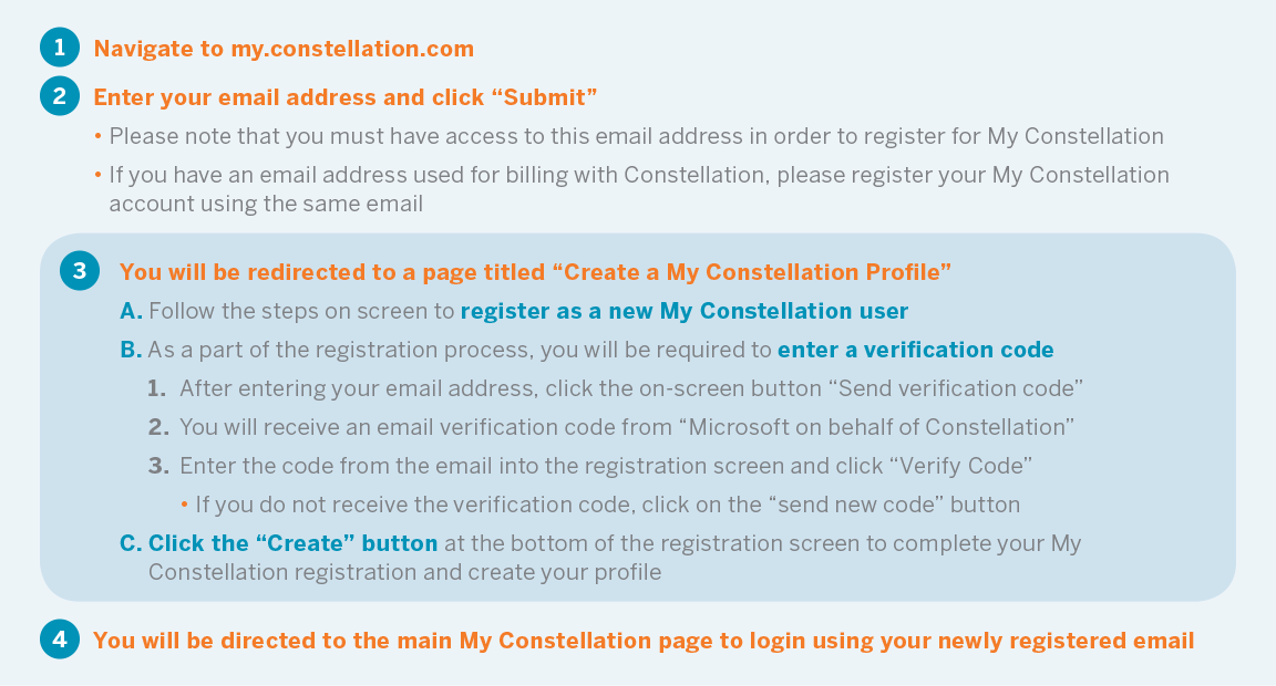 Step-by-step instructions for new users on how to create a profile and log in to My Constellation