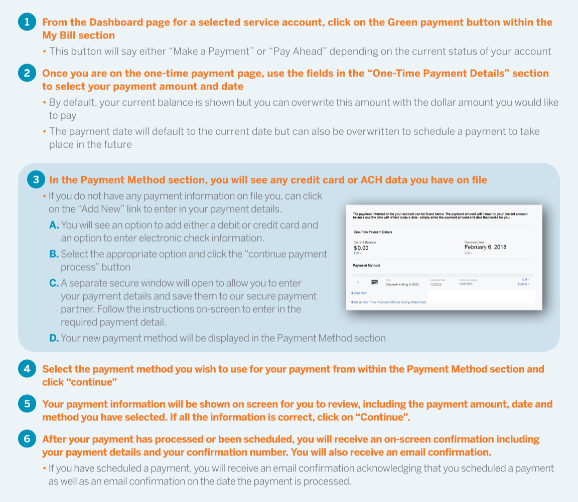 Step-by-step instructions on how to make a one-time payment in My Constellation
