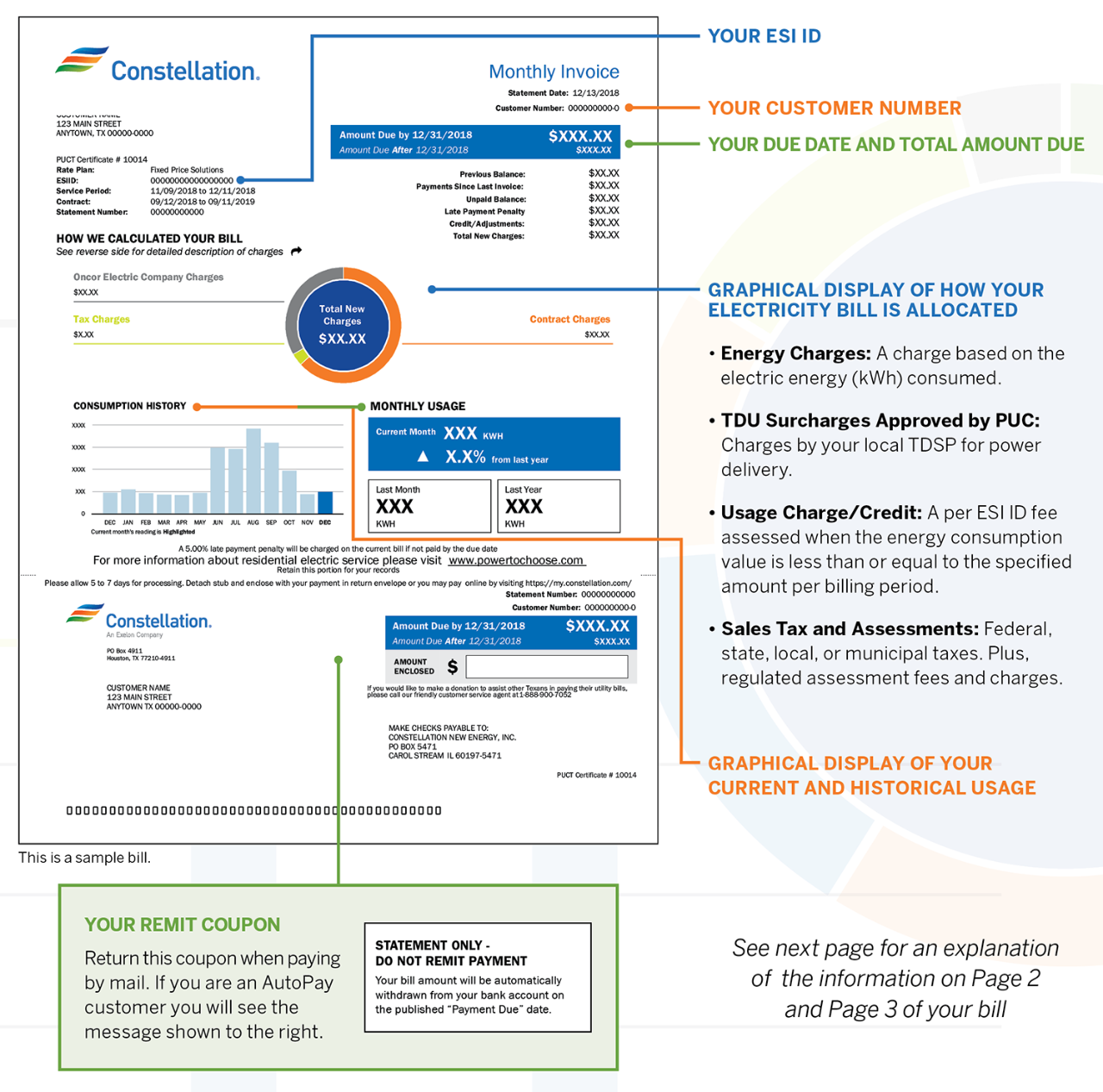Understanding your Texas Electric Bill from Constellation - page 1