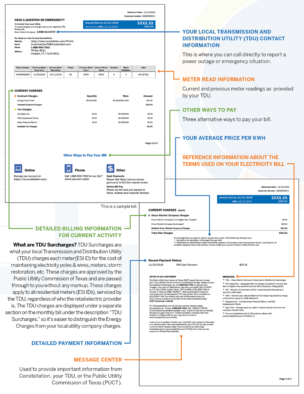 Understanding your Texas Electric Bill from Constellation - pages 2 and 3